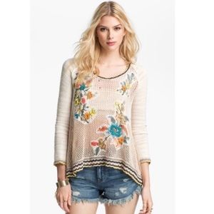 Free People Menagerie Embroidered Crochet Sweater